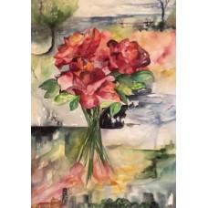 Roser malet som akvarel på papir