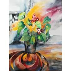 Akvarel med blomster i farver på et bord