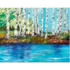 plakat med birketræer