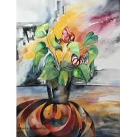 Akvarel stilleben i Galleri H Kbh