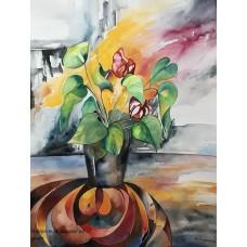 Akvarel med blomster af Mette Hansgaard 90 x 70 cm med unik indramning