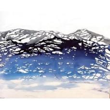 Maleri blå farver. Abstrakt maleri
