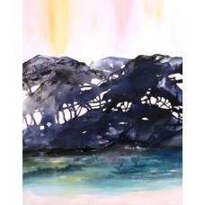 Maleri i blå farver 100 x 80
