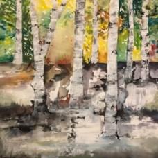 Maleri med birketræer og skov