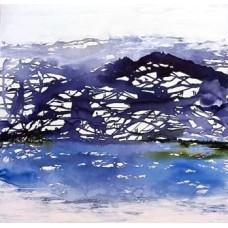 Blå malerier abstrakt 100 x 100