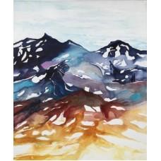 Maleri moderne kunst. Brune og blå farver