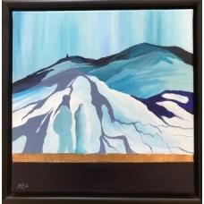 Maleri lille landskabsmaleri i blå farver