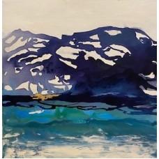 Mellem maleri 40 x 40 blå farver