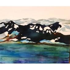Maleri med nordisk lys, malet i blå farver