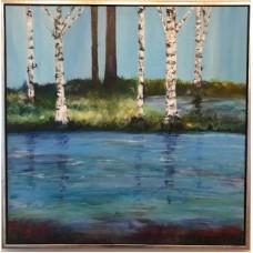 Skov maleri med birketræer