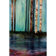 Maleri med landskaber med birketræer og skove