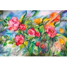 Akvarel med blomster i farver