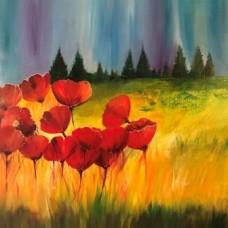 Blomster maleri med nordlys himmel i blå