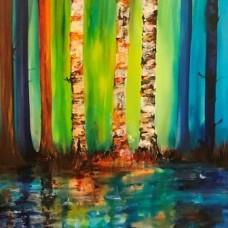 Malerier med birketræer