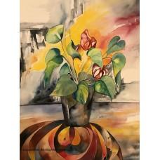 Kunst i ramme akvarel på papir 90 x 70 cm