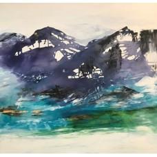 Nordiske landskaber fjordnorge - abstrakt maleri af Mette Hansgaard