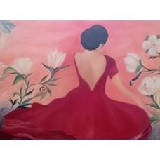 Maleri Flamincodanser rød med blomster
