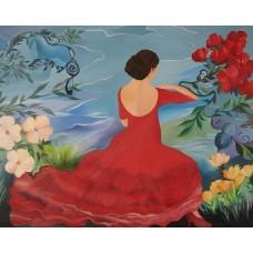 Maleriet Danserinde Mette Hansgaard 100 x 120 cm,