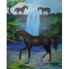 Maleri med den sorte hingst i vandfald